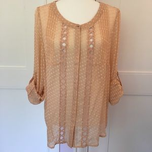 Anthro Meadow Rue Adoria sheer peach dotted blouse